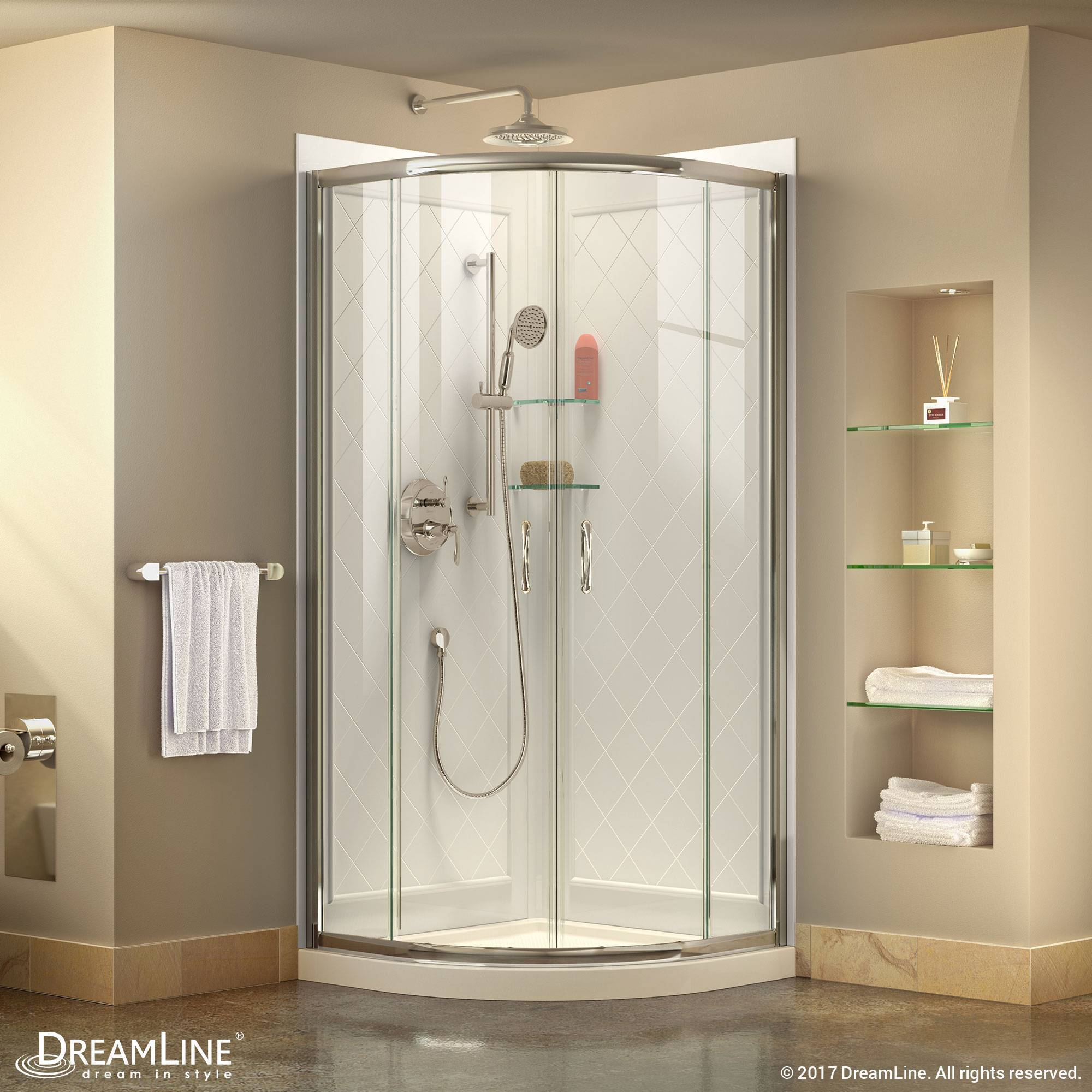DreamLine Prime Sliding Shower Enclosure, Base, & Backwall