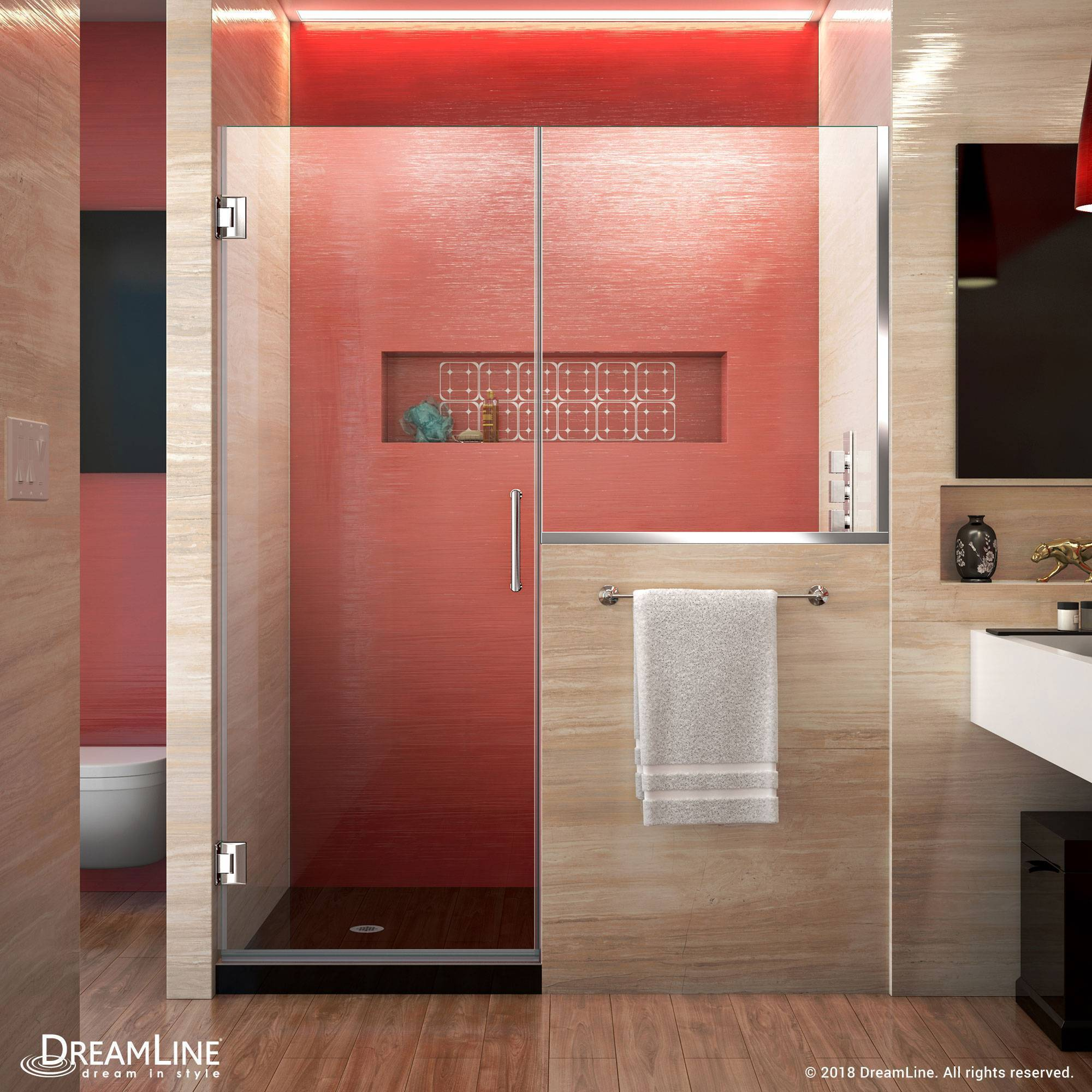 DreamLine Unidoor Plus Hinged Shower Door with buttress panel